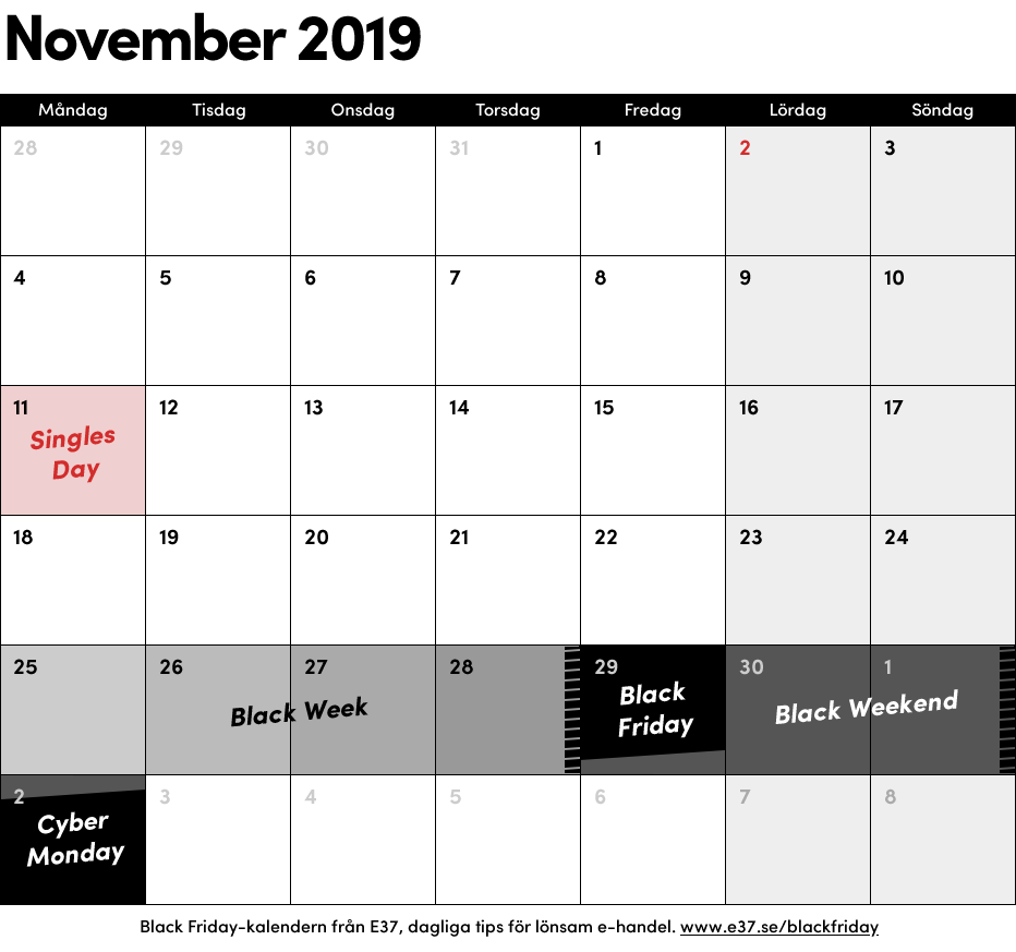 Black Friday 2019 datum Black Week Cyber Monday